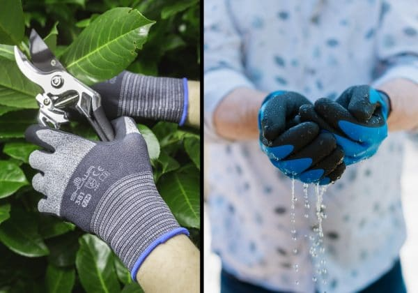image split in half vertically; SHOWa 381 gloves on left holding secateurs; SHOWA 306 gloves holding water in cupped hands