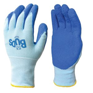 Blue BUDS children gloves, right and left hand, on a white background
