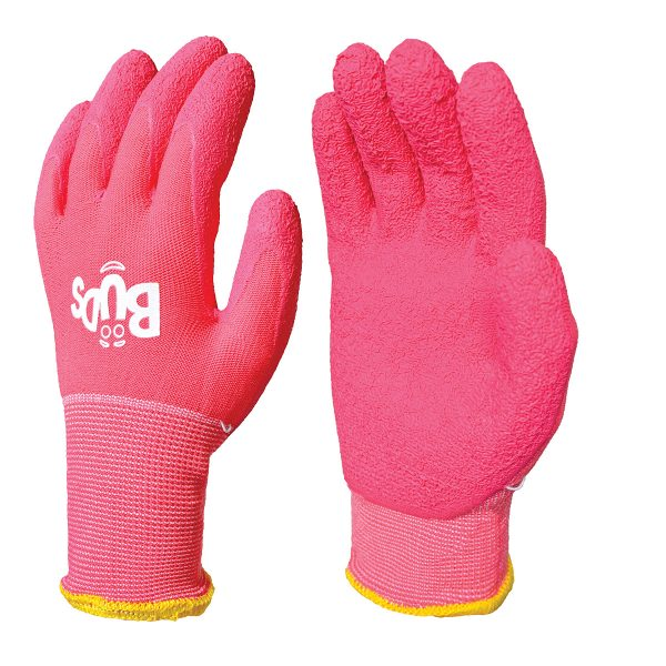 Pink BUDS children gloves, right and left hand, on a white background