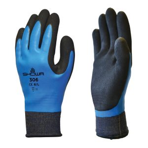 SHOWA 306 gloves, right and left hand, on a white background