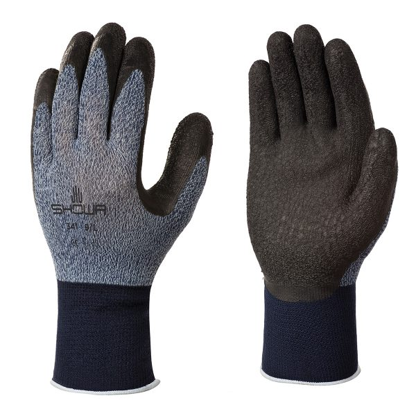 Grey SHOWA 341 gloves, right and left hand, on a white background
