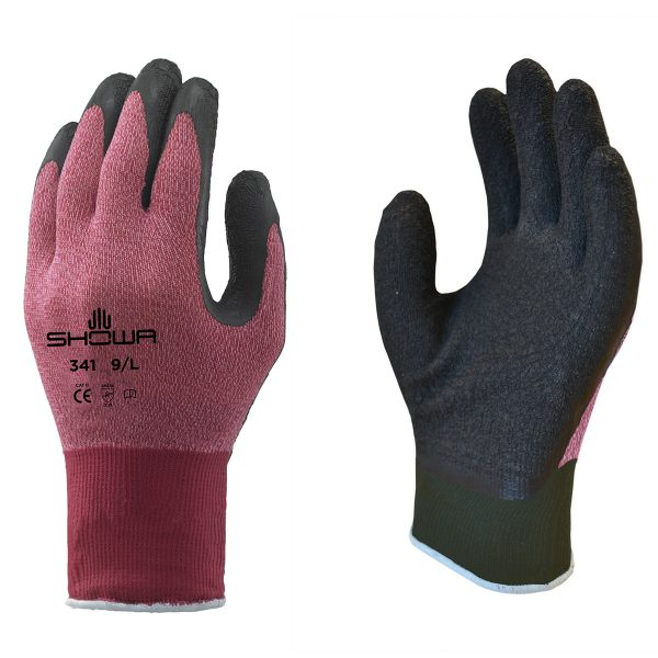 Pink SHOWA 341 gloves, right and left hand, on a white background