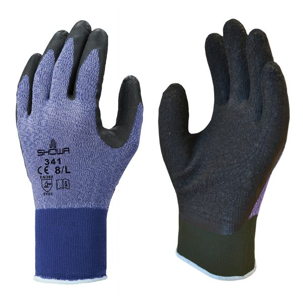 Purple SHOWA 341 gloves, right and left hand, on a white background