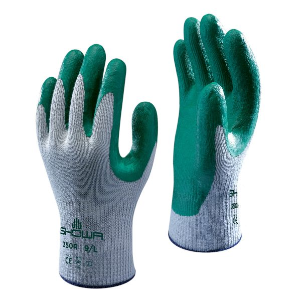 Grey/green SHOWA 350R gloves, right and left hand, on a white background