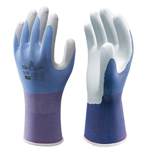 Blue SHOWA 370 Floreo gloves, right and left hand, on a white background