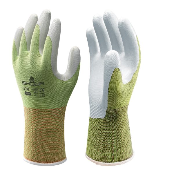 Green SHOWA 370 Floreo gloves, right and left hand, on a white background