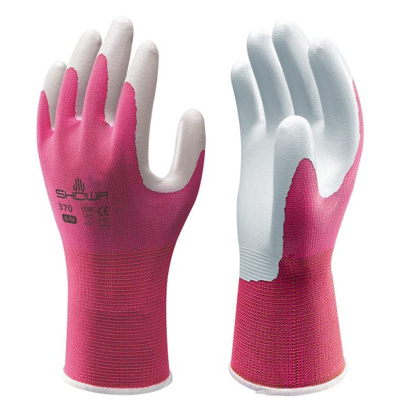 Pink SHOWA 370 Floreo gloves, right and left hand, on a white background