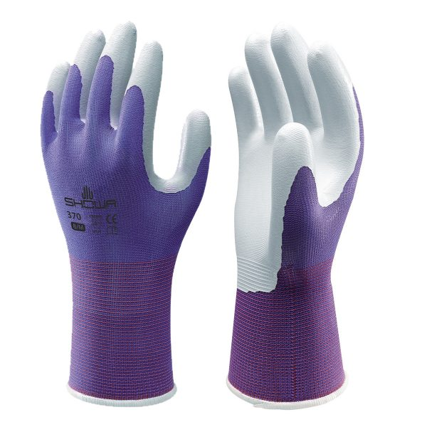 Purple SHOWA 370 gloves, right and left hand, on a white background