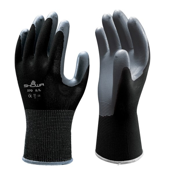 Black SHOWA 370 Floreo gloves, right and left hand, on a white background