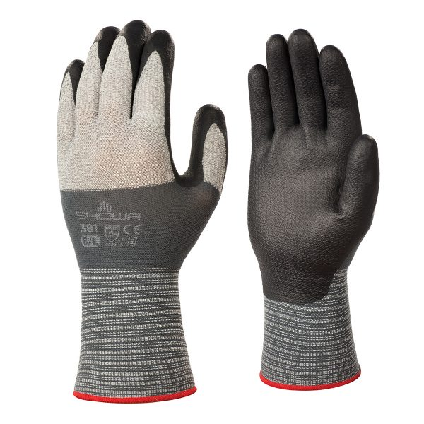 SHOWA 381 gloves, right and left hand, on a white background