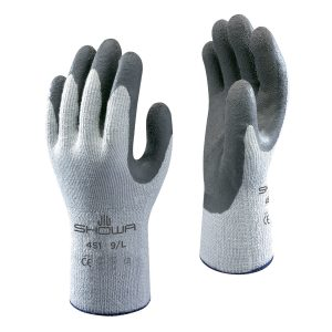 SHOWA 451 gloves, right and left hand, on a white background