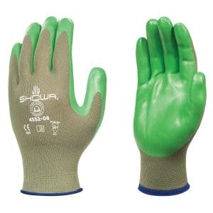 Green SHOWA 4552 biodegradable gloves, right and left hand, on a white background