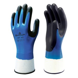 Blue and black SHOWA 477 gloves, right and left hand, on a white background