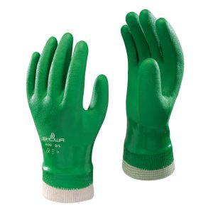 SHOWA 600 gloves, right and left hand, on a white background