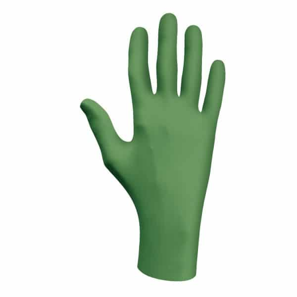 Green SHOWA 6110PF biodegradable gloves, left hand, on a white background