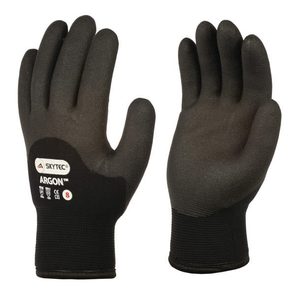 Skytec Argon black thermal gloves, right and left hand, on a white background