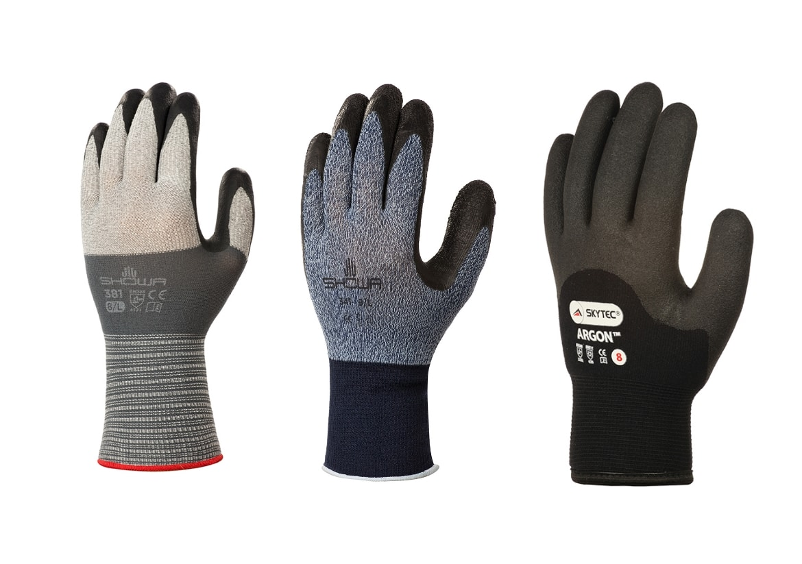 3 left hand gloves on a white background, SHOWA 381, SHOWA 341 and Skytec Argon