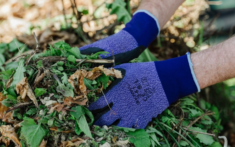 SHOWA 341 gloves in purple grabbing on to leaves and twigs
